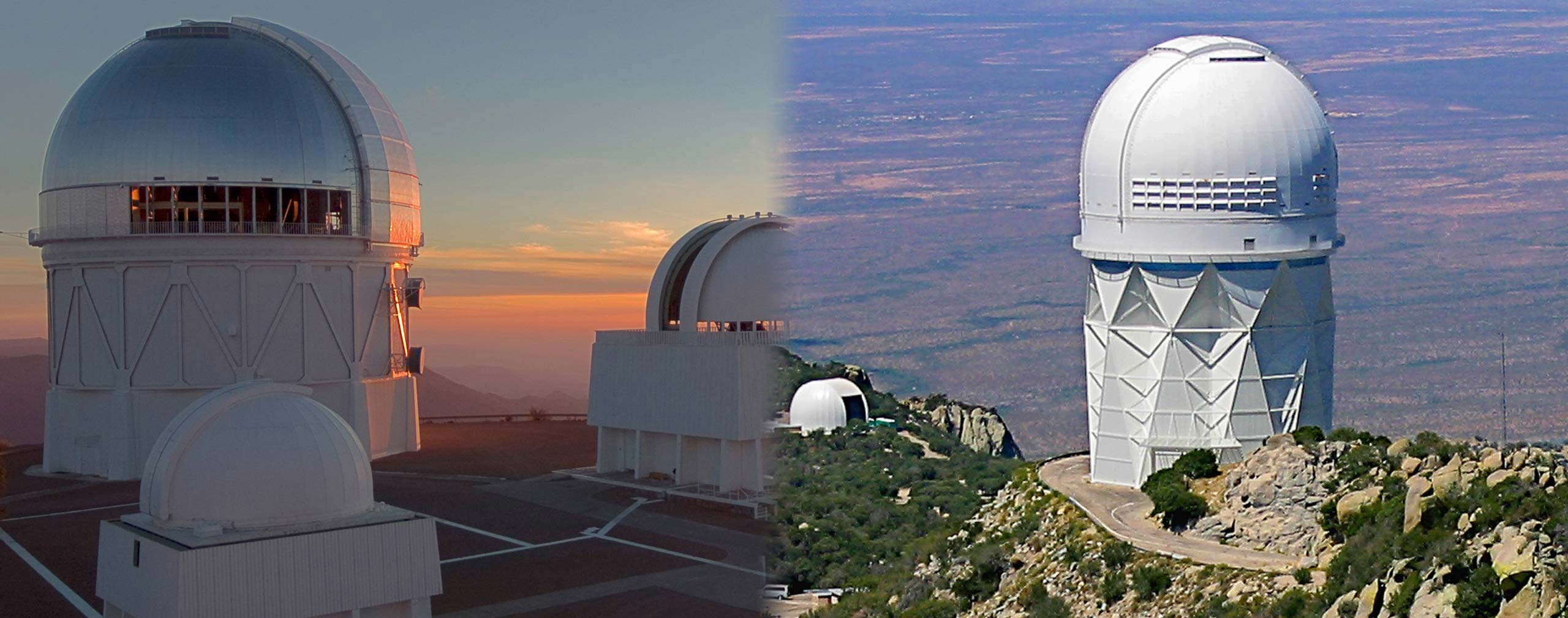 montage of AURA observatories in Chile and Arizona, Cerro Tololo and Kitt Peak
