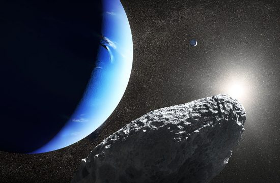 Artist conception of Neptune moon Hippocamp