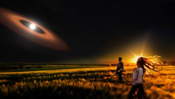 Composite image of people in a field looking at a star with dusty rings