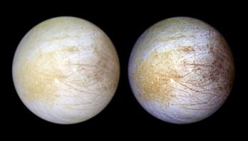 2 composite views of Jupiter's moon Europa