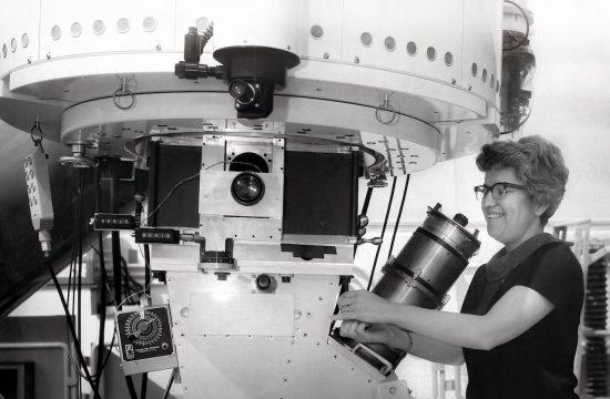 Vera Rubin at work on her telescope
