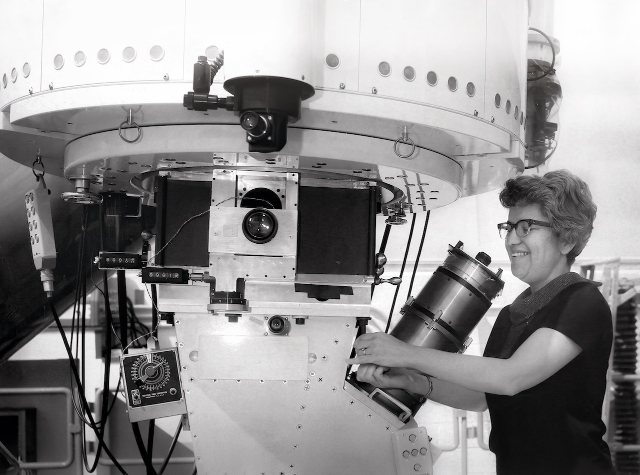 Vera Rubin at work on her telescope