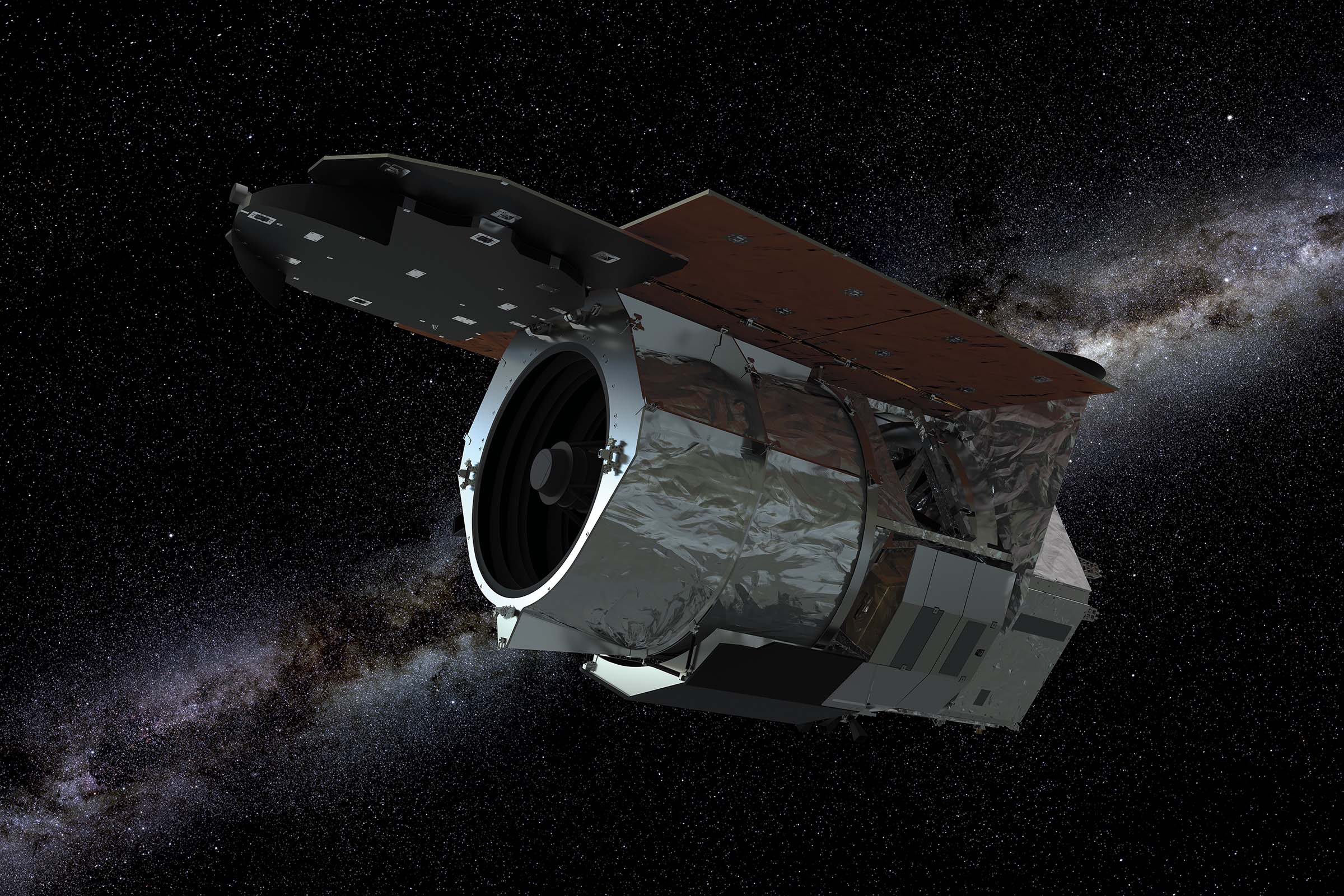 The Nancy Grace Roman Space Telescope floating in space