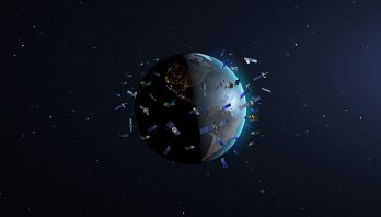 the Earth surrounded by satellites