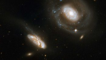 This is a stunning pair of interacting galaxies, the barred spiral Seyfert 1 galaxy NGC 7469 (Arp 298, Mrk 1514)