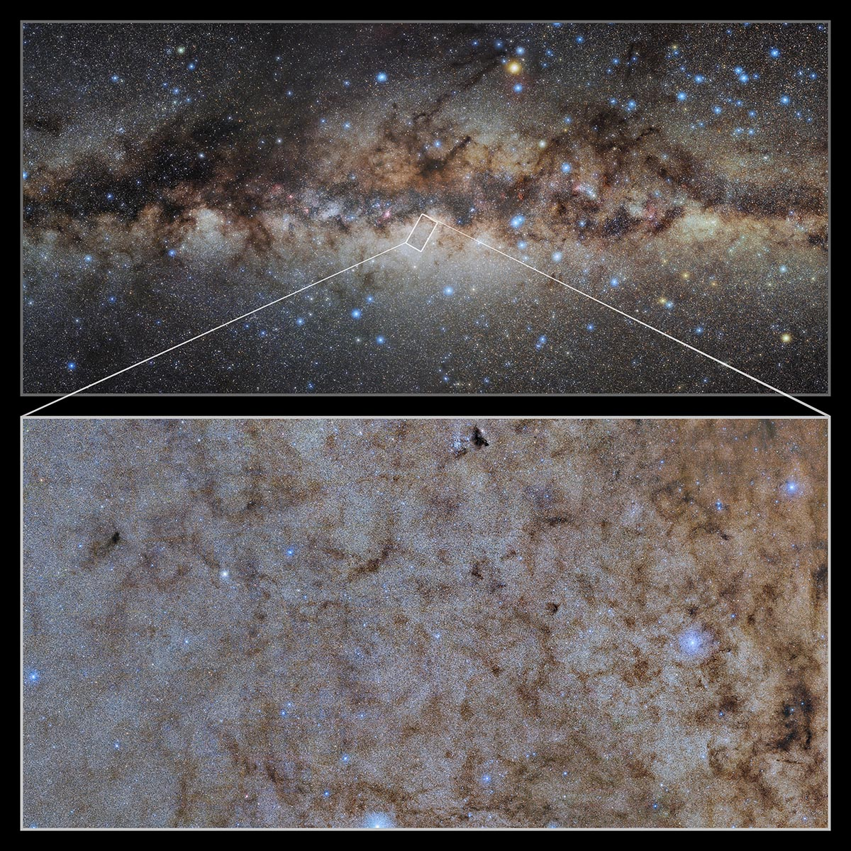 This image shows a wide-field view of the center of the Milky Way with a pull-out image of the Dark Energy Camera (DECam) at the Cerro Tololo Inter-American Observatory in Chile, a Program of NSF's NOIRLab.