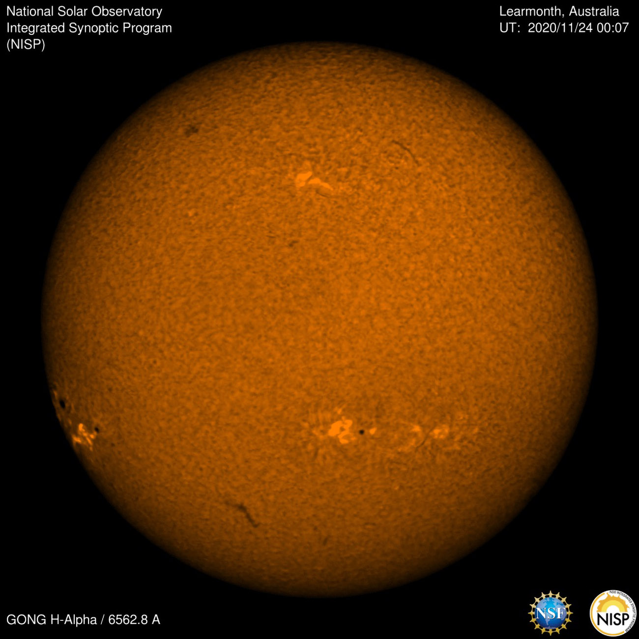 A large sunspot, predicted by NSO scientists, rotated onto the face of the Sun.