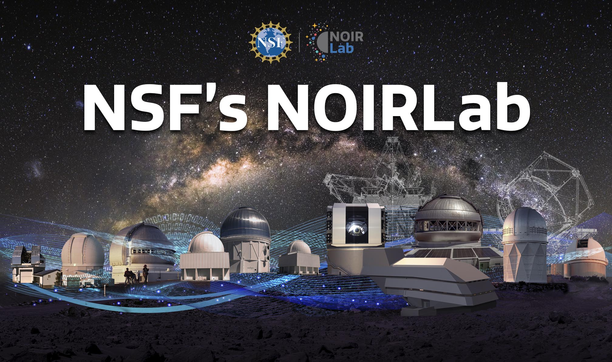 Photo montage of the the telescopes of NOIRLab with data flowing in-between