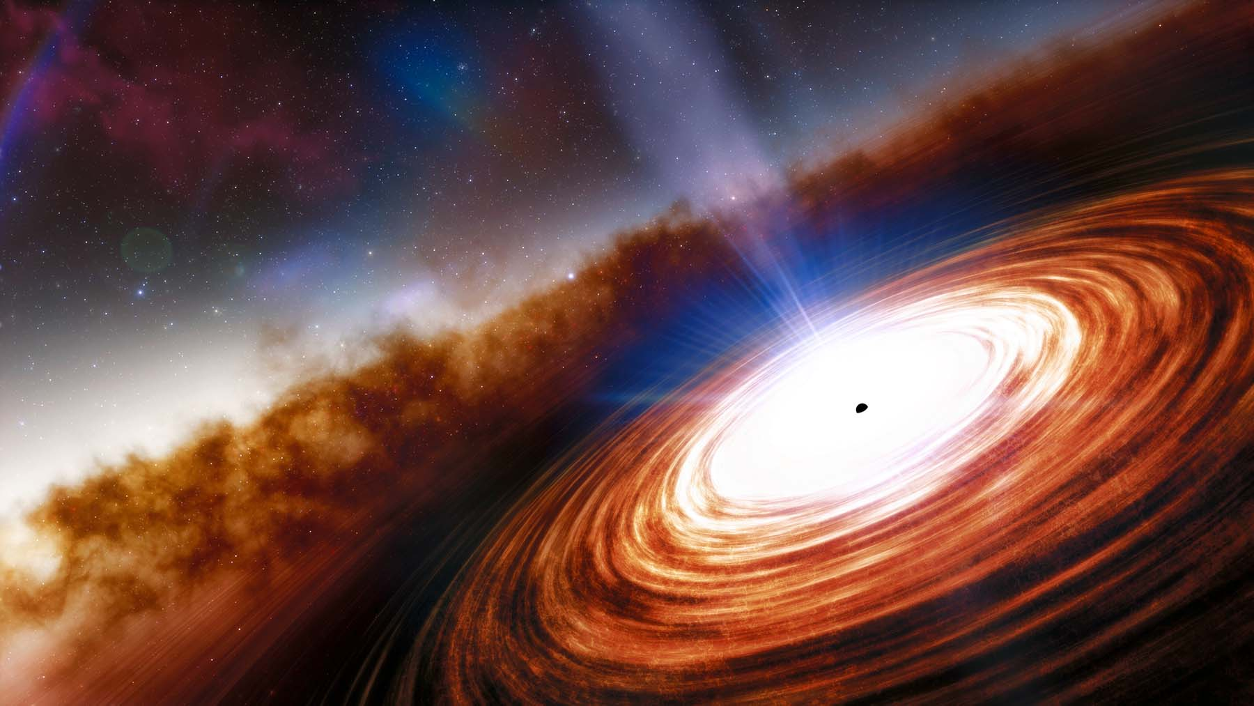 An artist's impression of quasar J0313-1806 showing the supermassive black hole and the extremely high velocity wind.