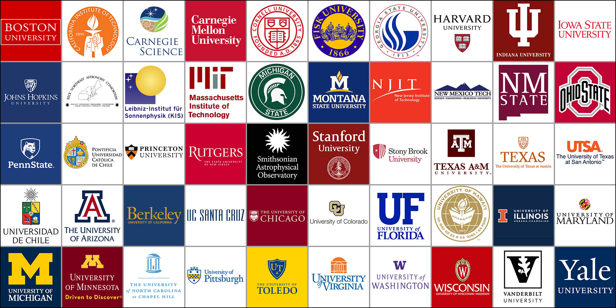 Logos of the 47 47 US institutions and 3 international affiliates that comprise AURA's Member Institutions.