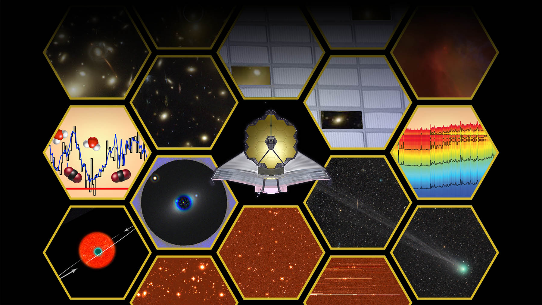 Hexagons on a black background  representing the mirrors of the Webb telescope filled with images of its scientific mission. This artist's illustration represents the scientific capabilities of NASA's James Webb Space Telescope. Both imaging and spectroscopy will be central to the Webb mission.