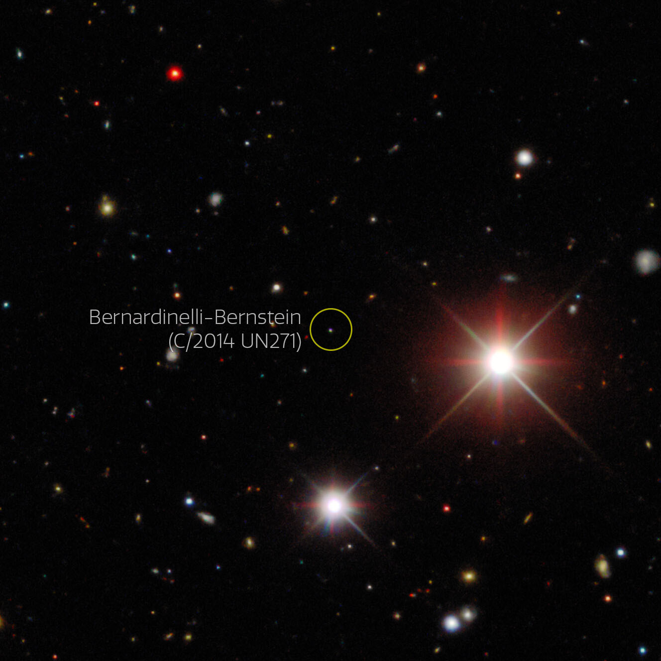 This image from the Dark Energy Survey (DES) is composed of some of the discovery exposures showing Comet Bernardinelli-Bernstein collected by the 570-megapixel Dark Energy Camera (DECam) mounted on the Víctor M. Blanco 4-meter Telescope at Cerro Tololo Inter-American Observatory (CTIO) in Chile. These images show the comet in October 2017, when it was 25 au away, 83% of the distance to Neptune.