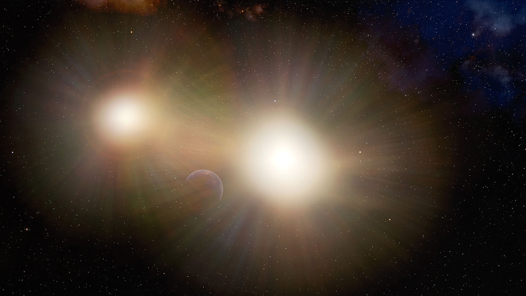 This illustration depicts a planet partially hidden in the glare of its host star and a nearby companion star. After examining a number of binary stars, astronomers have concluded that Earth-sized planets in many two-star systems might be going unnoticed by transit searches, which look for changes in the light from a star when a planet passes in front of it. The light from the second star makes it more difficult to detect the changes in the host star's light when the planet passes in front of it.