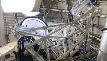 The National Science Foundation's Inouye Solar Telescope lets sunlight in through its aperture.